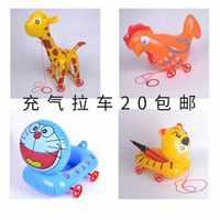 义乌厂家低漏气率儿童充气玩具加厚PVC动物拉线拉车玩具批发商