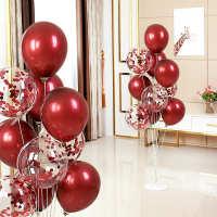 装饰房庆波波布置球方婚男女立柱桌飘套装结婚网红支架红宝石气球