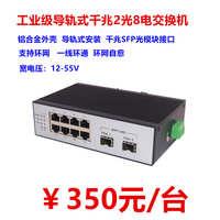 工业级千兆2光8电环网型光纤收发器交换机SFP自愈一纤环通光端机