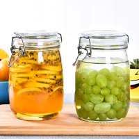 密封罐玻璃透明加厚杂粮储物罐家用卡扣玻璃瓶发酵蜂蜜果酱瓶厨房