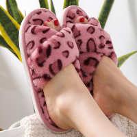豹纹点点交叉女士居家木地板保暖棉拖鞋室内居家时尚秋冬棉拖鞋