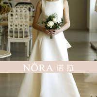简约轻婚纱气质法式复古双肩款缎面新娘显瘦森系户外草坪婚礼旅拍