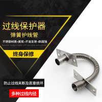 门禁过线器弹簧护线管配件网线门用保护软管不锈钢金属防夹穿线管