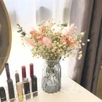 满天星干花花束客厅摆件玫瑰天然真花ins风干带花瓶装饰家居摆设