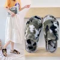新款毛毛鞋女韩版少女居家防滑保暖地板鞋松紧带迷彩露趾毛毛棉鞋