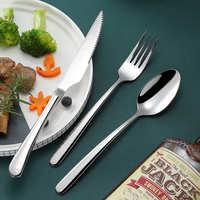304不锈钢牛排刀叉勺礼盒西餐餐具套装三件套装欧式儿童款刀叉勺