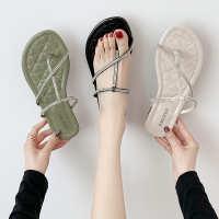 2020新款度假风夹趾沙滩凉鞋女夏学生平底夹脚水钻凉拖鞋罗马女鞋