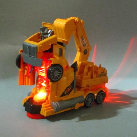 拖头模型玩具男孩电动汽车音乐仿真变形新款万向挖掘机工程车灯光