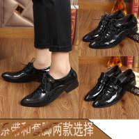 男士工装商务潮流时尚正皮鞋尖头亮面结婚鞋欧版包邮橡胶单鞋平跟
