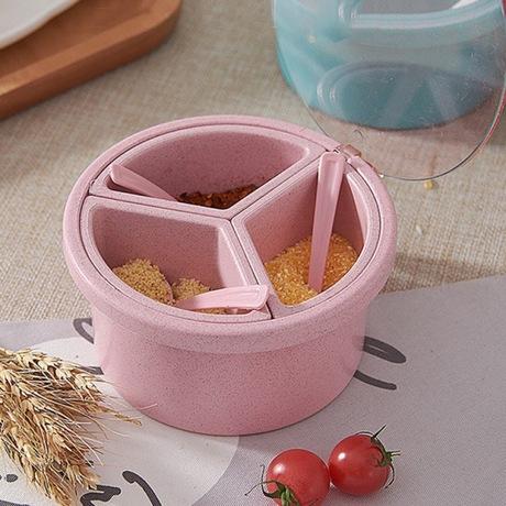 调料盒厨房调料罐调味盒带盖创意糖罐盐罐佐料盒调味瓶小麦秸秆
