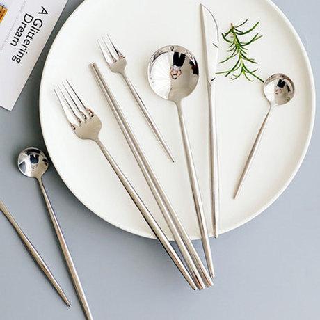 不锈钢餐具葡萄牙刀叉勺筷子勺子镜面银色四件套装礼盒餐叉子304