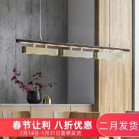 全铜后现代吊灯样板房长方形餐厅卧室客厅新中式轻奢港式黄铜吊灯