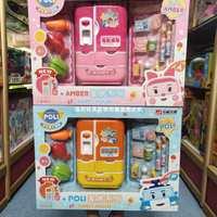 宏星珀利家居系列会说话的双开门冰箱玩具饮料儿童过家家厨房套装