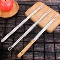 不锈钢餐具扁柄木柄不锈钢刀叉烧烤工具套装餐具可定制logo