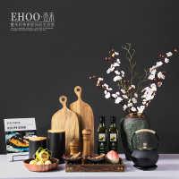 新中式样板间展厅橱柜成品花艺组合厨房厨托盘装饰品套装创意摆件