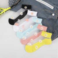夏季薄款棉底丝袜女士船袜透明菊花水晶玻璃丝袜厂家批发