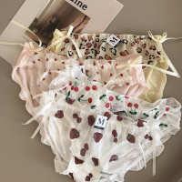 3条装可爱甜心冰丝印花包臀低腰女士内裤网纱可爱草莓樱桃女内裤