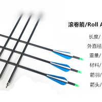碳素箭头纯碳混碳箭玻纤箭铝箭滚卷箭训练竞技箭反曲传统复合弓用