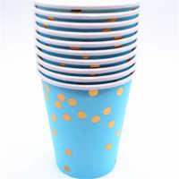 一次性木浆派对烫金纸盘餐巾纸套装7寸9寸纸杯定制定做厂家方巾纸