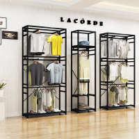 母婴店三层童装服装店双层展示架男女童装挂衣架货架展示柜落地式