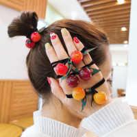 甜美韩版樱桃扎头发橡皮筋简约少女发圈丸子头绳发绳皮套网红头饰