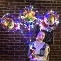 ins网红波波球带灯广场街卖led彩灯发光气球手持气球棒魔法仙女棒