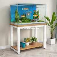 钢木鱼缸架子铁艺草缸底座多层置物架鱼缸底座缸架实木鱼缸底柜