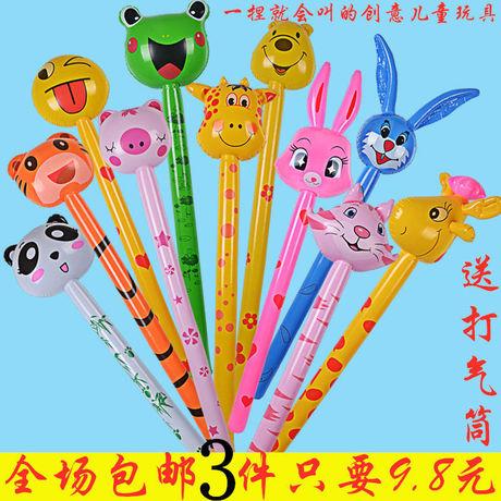 PVC充气动物气球儿童充气玩具动物长棒充气动物棒地摊热销玩具