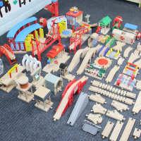 木质小火车磁力电动车轨道男孩木头制积木拼装配件儿童益智玩具米
