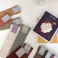 2020新款日系韩国四季款直板色纺纱短袜棉温柔铁轮黄女袜堆堆袜