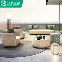 户外沙发藤编样板房藤椅组合休闲庭院阳台露天室外别墅设计师家具