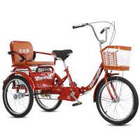 老年三轮车人力车代步车脚蹬双人车脚踏车成人三轮车接送小孩