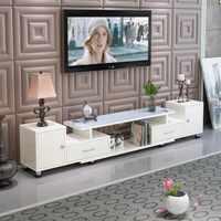 时尚钢化玻璃电视柜简约伸缩木质欧式客厅电视机柜现代茶几组合