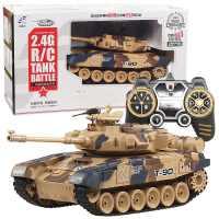 俄罗斯T90大型1:18遥控坦克车充电冒烟打弹履带式军事儿童玩具车