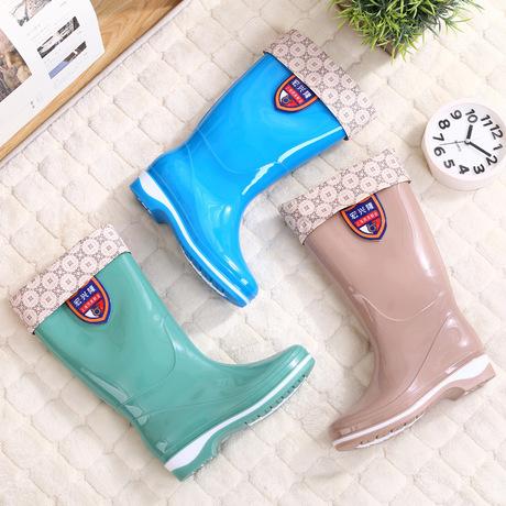 批发高筒女款雨靴加棉套可拆卸式防水时尚防滑雨鞋厚底耐磨水鞋女