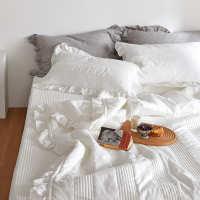 ins三件套韩式空调绗缝床单水洗全棉被可床盖纯棉双面风两用白色