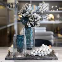 样板间饰品轻奢玻璃花器装饰托盘宴赏假花家居客厅仿真花摆件