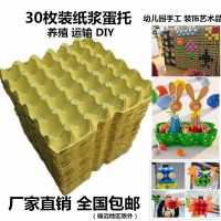 蛋托幼儿园创意手工30枚纯纸浆蛋托盘包装纸箱纸浆鸡蛋运输养鸡场