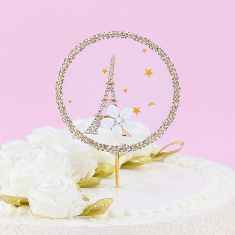 网红风浪漫铁塔闪钻圆环生日蛋糕插件生日蛋糕插牌烘焙插件