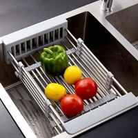 。可伸缩水槽沥水篮不锈钢水池沥水架长方形碗碟洗菜盆塑料大号家