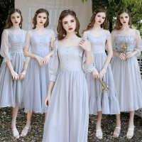 伴娘服2020新款平时可穿灰色仙气质遮肉显瘦遮手臂姐妹团毕业礼服
