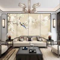 中式电视背景墙硬包轻奢壁画工笔花鸟客厅装饰沙发卧室床头软包8d