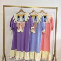 夏季女睡衣海军风少女睡裙樱桃小丸子短袖甜美可爱可外穿家居服夏