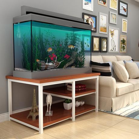 钢木实木鱼缸底柜客厅鱼缸架子铁艺置物架鱼缸桌子底座定做鱼缸柜