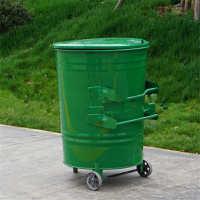 挂车环卫垃圾桶垃圾箱圆桶铁皮带轮大号户外240垃圾箱升亚马逊