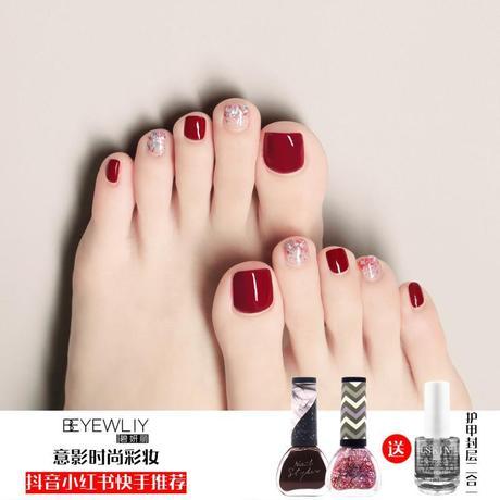 【3瓶套装】脚指甲油持久不可剥防水快干车厘子樱桃红涂脚趾显白