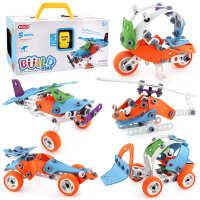 STEM拆装玩具车可拆卸益智软胶拼装工程车儿童拧螺丝钉组装DIY