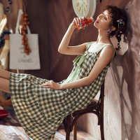 睡衣女夏季薄款甜美清新无袖韩版少女士纯棉可外穿带胸垫吊带睡裙