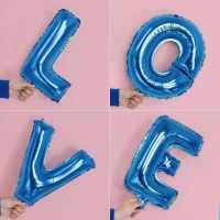 蓝色创意字母铝膜气球节日婚庆生日庆典装饰布置气球16寸字母气球