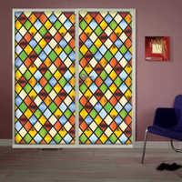 窗户贴膜磨砂玻璃欧式彩色玻璃复古不教堂卫生间贴纸防窥透光透明